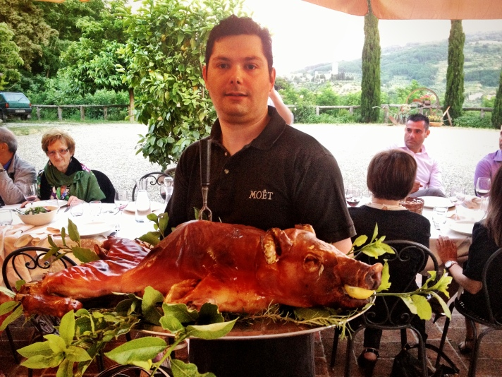 Maialino allo spiedo, a dish that is beyond delicious