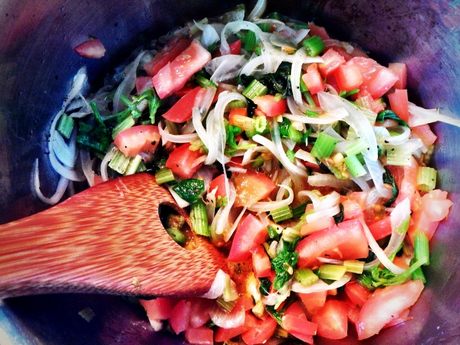 Making the acquacotta soup