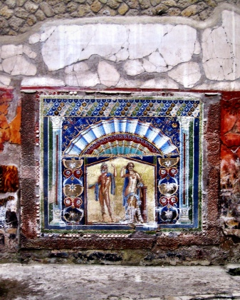 Well preserved painting on the wall in Pompei