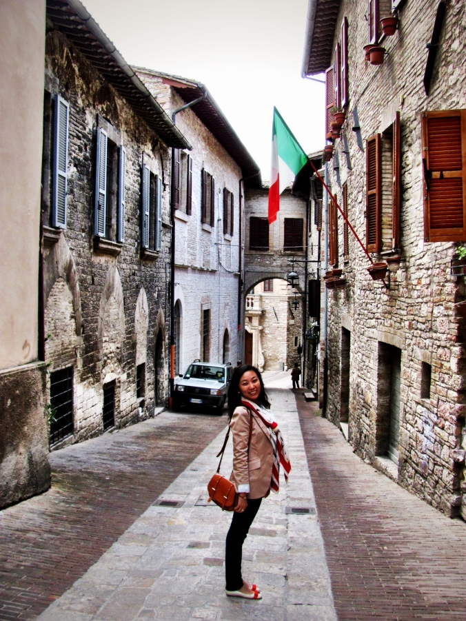 Me standing in the lane in Assisi