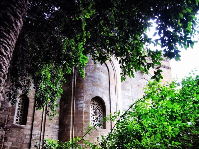 Window behind a church