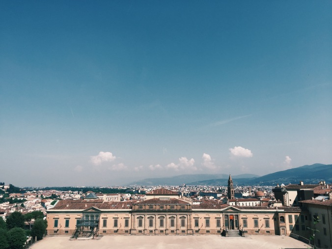The view from Boboli Garden to Pitti palace