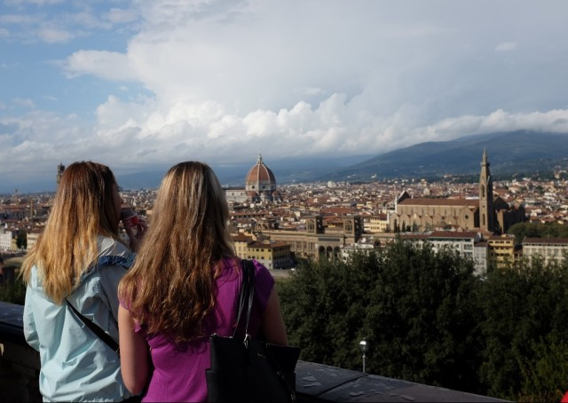 It is hard to not enjoying here: the gelato, or the view from the piazzale michelangelo, you gonna be lulled into either of the two~