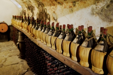 a corner of the cellar in castello del trebbio