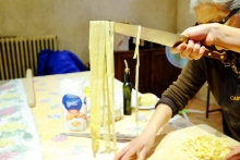 hand made pasta ready to jump into the water