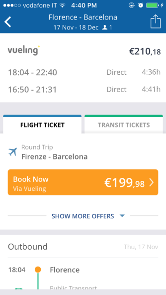 Details of the selected itinerary