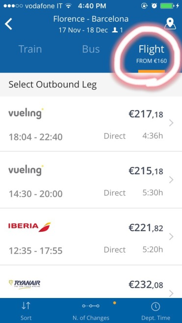 Searching flights for Barcelona
